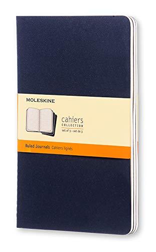Moleskine CH216 - Set de 3 cuadernos a rayas, grandes, color azul marino