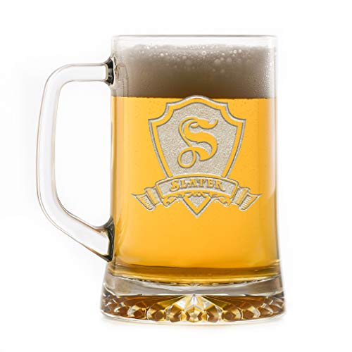 Personalized Monogram Engraved With Name Banner Shield Beer Mugs SET OF 2...