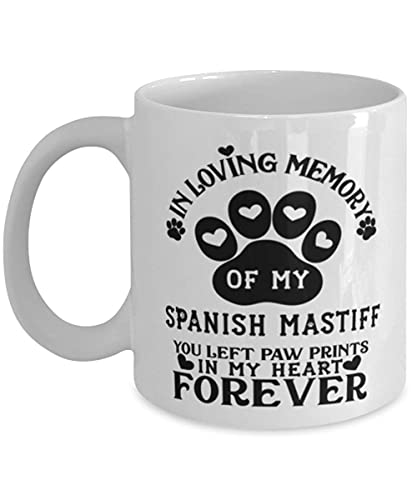 N\A Taza para Perro mastín español Pet Memorial You Left Pawprints in My Heart Taza de café