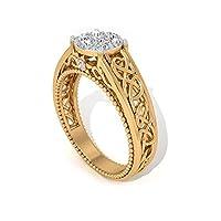 0.35カラット認定モアッサナイト婚約指輪ソリティアイリュージョンビーズ刻印リング DE-VS1カラークラリティジェムストーンリングツートンインターロックリング, 14K イエローゴールド, Size: 17