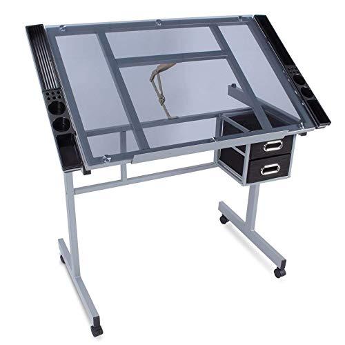 LOVEHOUGE Mesa de dibujo ajustable con mesa inclinable y 2 cajones de almacenamiento, mesa de dibujo, escritorio de computadora para uso en casa y oficina