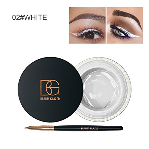 Allbesta 2 in 1 Eyeliner Stift Bunt Gel Liquid Make-up Set Wasserfest und Smudge-proof Kosmetik Schwarz Braun Weiss