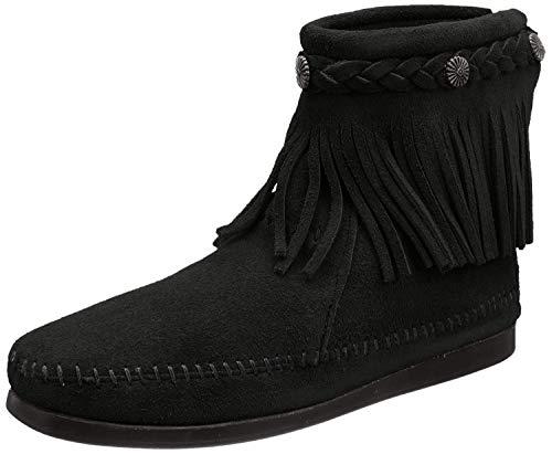 Minnetonka Hi Top Back Zip Boot HI TOP BACK ZIP BOOT - Botas de ante para mujer, color negro, talla 38