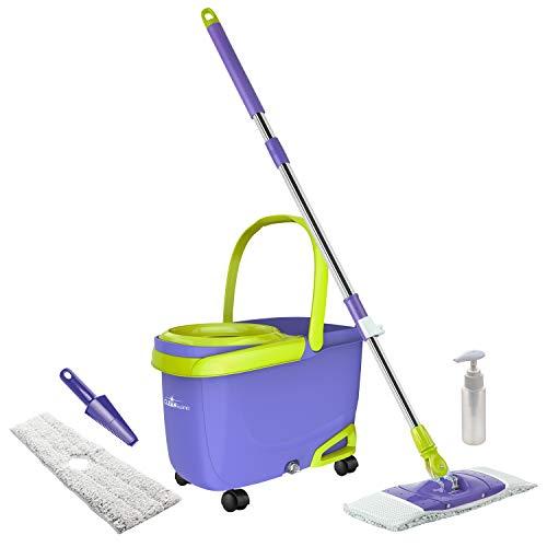 Genius Cleanissimo | Flymop | Boden-Wischer | Eimer | Schleuder-Behälter | 360° drehbar | Wisch-Komplettset | NEU Farbe Lila-Grün