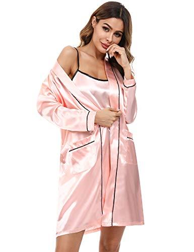 Doaraha Kimono Mujer Bata Satén Sexy Ropa de Dormir Seda Batas Novia Vestido Dama de Honor Pijama Cortos Conjunto de Lencería Albornoz Camisón Suave Sedoso (Rosa, L)