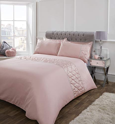 Sienna Satin Pintuck Diamante Band Duvet Cover with Pillowcase Ruched Pinch Pleat Bedding Set, Blush Pink, Single