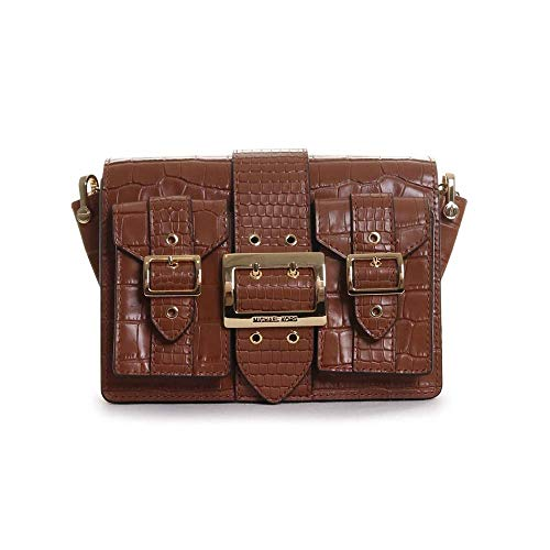 """Crocodile embossed leather, Fabric: 100% Leather, Gold-tone hardware 7.45""""W X 6.5""""H X 3.25""""D Adjustable strap: 12""""-22.5"""" Exterior details: back slip pocket, 2 front buckled pockets Interior details: back slip pocket, 3 card slots Lining: 100% polyest..."""