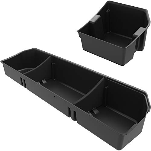 OEDRO Upgraded Under Seat Storage Box Compatible with 2015-2020 Ford F150 SuperCrew Cab & Crew Cab - Unique Textured Black 2-in-1 Design Max Storage (Excl. Super Cab)