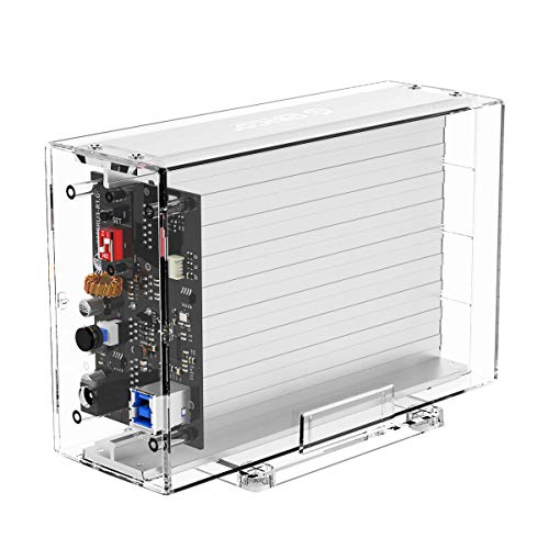 ORICO 2 Bay 3,5'' HDD Dockingstation RAID 0/1/PM/SPAN, Transparentes Festplatten Gehäuse USB 3.0 bis SATA 3.0 für 7-9,5 mm 3.5 Zoll HDD SSD mit 5V2A Adapter (3529U3)