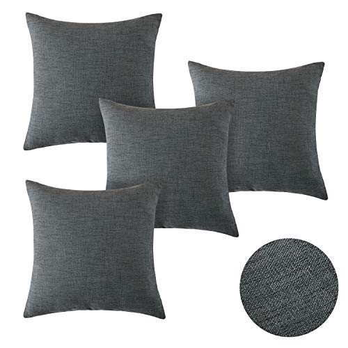 Deconovo Set of 4 Home Decorative Faux Linen Woven Fine Square Cushion Covers Throw Pillow Case Cushion Covers for Dining Chairs with Invisible Zipper 16x16inch Dark Grey