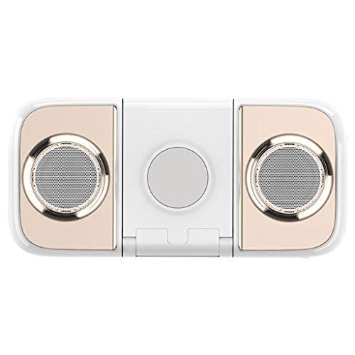 ZXQZ Altavoces inalámbricos Bluetooth, banco de energía móvil de 10000 mAh, soporte para teléfono móvil, micrófono incorporado, para iPhone Samsung Huawei teléfonos móviles altavoces (color champán)
