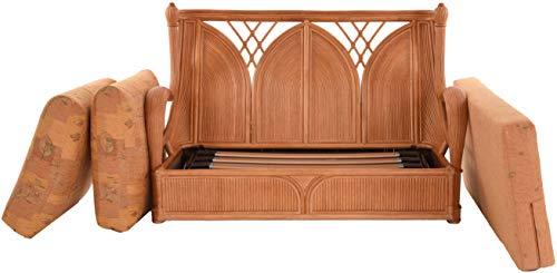 korb.outlet Edles Wohnzimmer Schlafsofa Prince Rattan-Sofa mit Schlaffunktion 2-Sitzer Liegesofa Rattansofa (Terracotta) - 6
