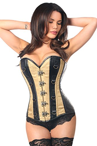 Daisy corsets Women's Plus Size Top Drawer Brocade & Faux Leather...