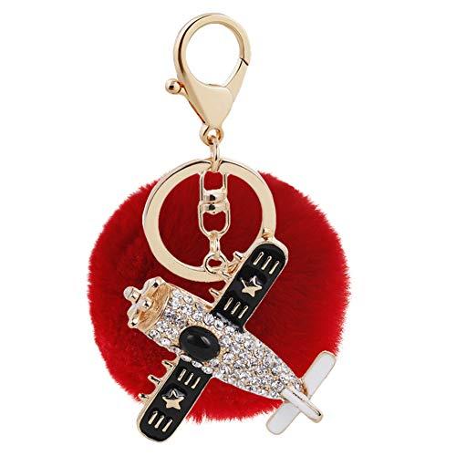Ostory キーホルダー 人気な キラキラ 飛行機 毛玉 レディース バッグ チャーム キーチェーン キーケース キーリング アクセサリー