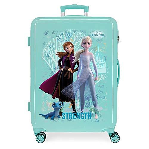 Disney Frozen Find Your Strenght Maleta Mediana Azul 48x68x26 cms Rígida ABS Cierre combinación 70L 3,7Kgs 4 Ruedas Dobles