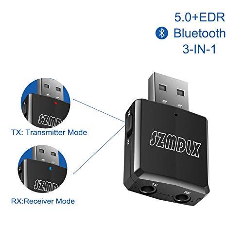 SZMDLX USB Adattatore Bluetooth 5.0, Mini trasmettitore e Ricevitore Bluetooth 3 in 1, 2 modalità Trasmissione e Ricezione Adattatore Portatile Wireless per Streaming Audio con 3,5mm per Auto, TV, PC