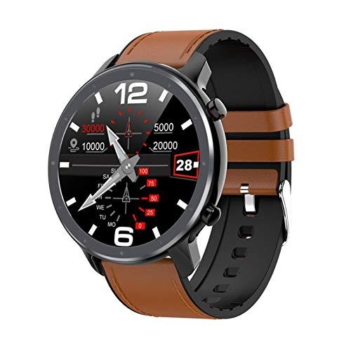 XUEMEI Smart Watch 1.3inch Pantalla Táctil Completa IP68 Monitor De Frecuencia De Ritmo Cardíaco Impermeable Impermeable Monitor De Presión Arterial (Color : Black Brown)