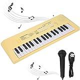 Teclado musical electrónico digital, Niños aprendiendo teclado 37 teclas Piano eléctrico portátil con micrófono Mini teclado de piano eléctrico personal para niños, principiantes(Yellow)