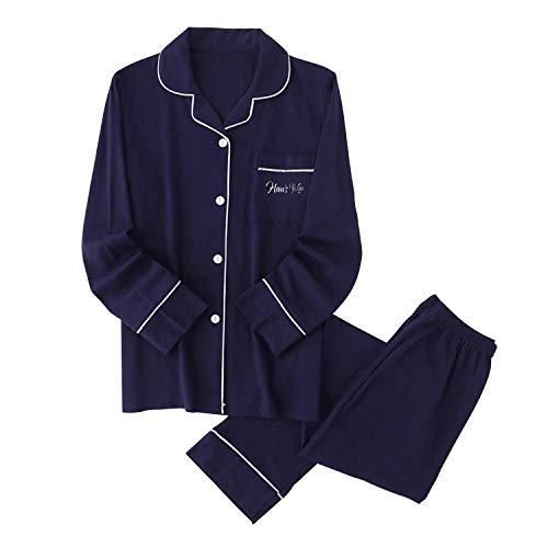 パジャマ メンズ 綿100% ルームウェア 上下セット 前開き 衿付き ポケット付き 長袖&長ズボン ふんわり シンプル 肌に優しい 部屋着 (M, ネイビー)