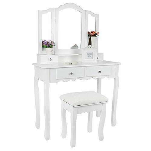 DFJKE - Cómoda de dormitorio con 3 espejos, 4 cajones, 1 taburete para mujer, cómoda de maquillaje, conjunto de tocador de estilo moderno, muebles de dormitorio