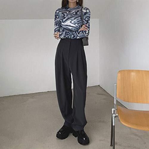 haochenli188 Pantalones De CháNdal para Mujer, Pantalones, Ropa De Calle, Moda, Estilo Coreano, Pierna Ancha, Harajuku, Holgado, Negro, De Cintura Alta, Vintage L Gris
