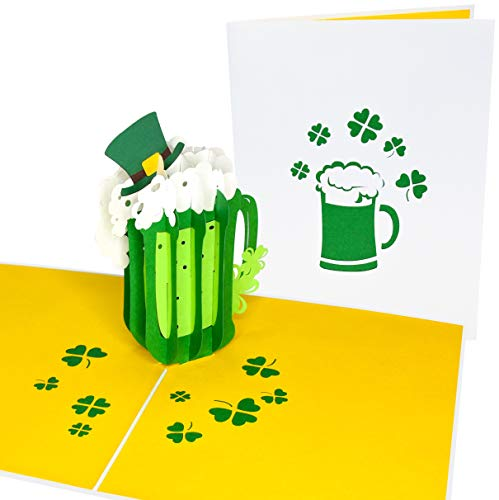 PopLife Green St. Patrick's Day Beer 3D Pop Up St. Patrick's Day Card - Birthday Pop Up Card, Good Luck, Get Well - for Irish Friend, for Dad, for Son, for Boyfriend