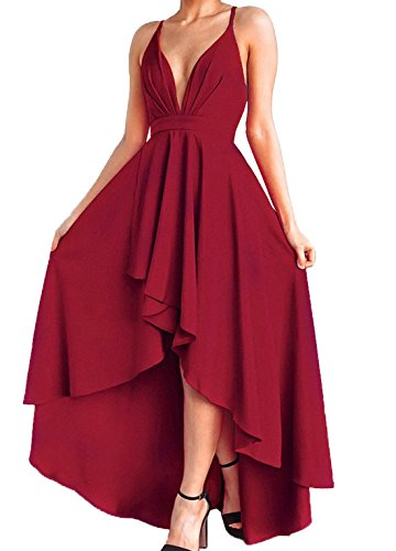 JQLampe Sommer Damenkleid Tief V Ausschnitt Schlinge Rückenfrei Bandage Hohe Taille Lange Kleider Strandkleid Rot Unregelmäßige Maxikleid...