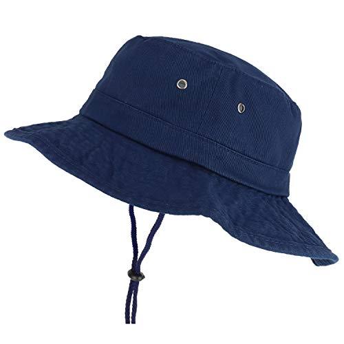 Trendy Apparel Shop XXL Oversize Large Brim 100% Cotton Outdoor Boonie Hat - Navy - 2XL