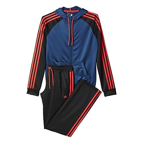 adidas Damen Trainingsanzug New Young Knit Oberbekleidung, Blau/Schwarz/Orange, XS