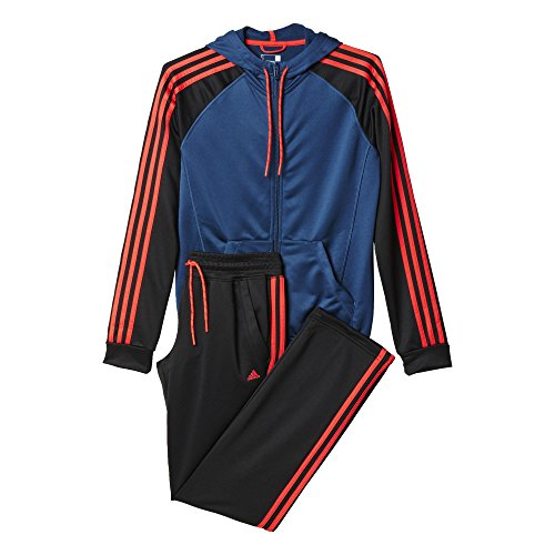 adidas Damen Trainingsanzug New Young Knit, Blau/Schwarz/Orange, 2XS