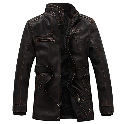 Men's Padded Casual Long Sleeve Plaid Lined Button Warm Jacket Men's leather clothing for cold and warm-brown _4XL