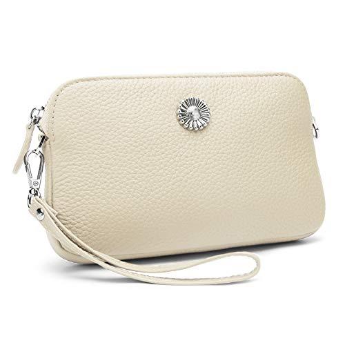 YALUXE Leather Wristlets for Women Clutch Wallet Wrist Strap Crossbody Zip Pocket long Shoulder Chain
