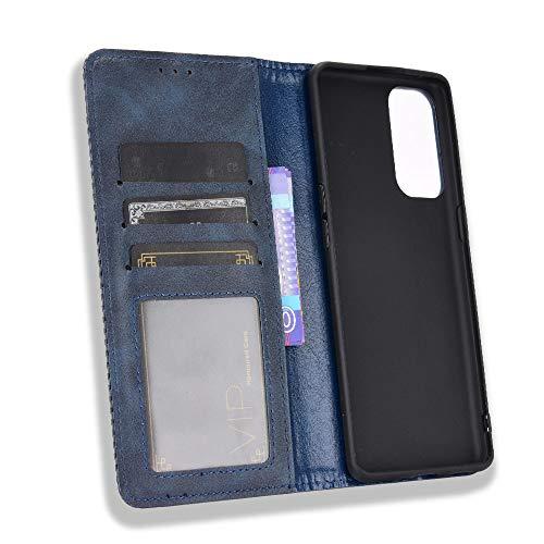 MingMing Lederhülle für Oppo Find X3 Neo Hülle, Flip Hülle Schutzhülle Handy mit Kartenfach Stand & Magnet Funktion als Brieftasche, Cover für Oppo Find X3 Neo, Blau