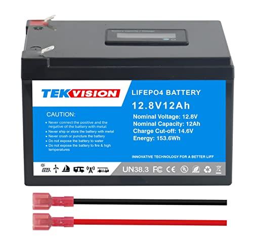 Tekvision Batería de litio LiFePO4 de 12 V y 12 Ah (LiFePO4 12 V 12 Ah, con LED)