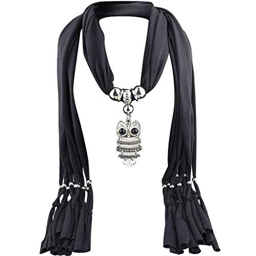Collar Bufanda para Mujer con joyería Elegante Colgante Damas Moda Borla Cuentas de Resina Collar Bufandas Abrigo Fiesta joyería Bufanda Regalo (Negro)
