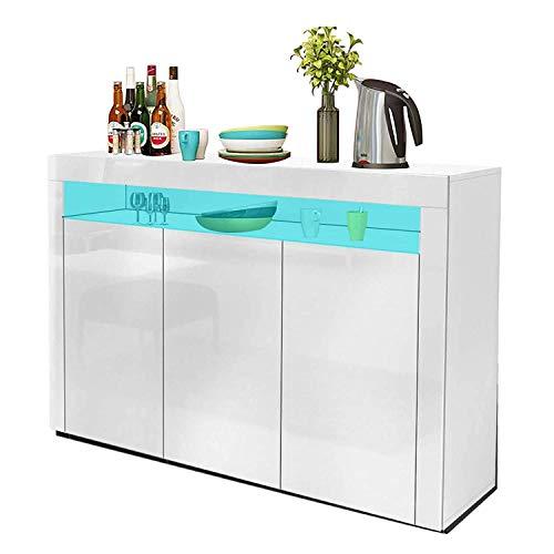 YOLEO Küchenschrank Sideboard mit LED-Leuchte Anrichte matt Hochglanz für Küche Esszimmer Wohnzimmer (weiß, 130 x 88 cm)