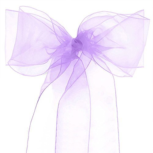 Lucky 10/20/50/100 Pack Organza Banquet Chair Sash Sashes Bows Ties for Weddings Party Decoration White Pink Purple Gold Red(10 Pack, Lavender)