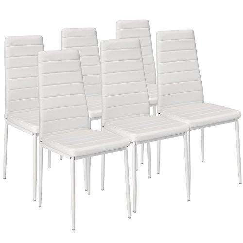 TecTake Set de sillas de Comedor 41x45x98,5cm cantidades - (6X Blanco | No. 401850)