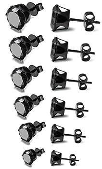 FIBO STEEL Stainless Steel Mens Womens Stud Earrings Black Round Cubic Zirconia Inlaid 6 Pairs 3mm-8mm