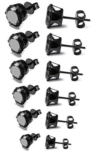 FIBO STEEL - Pendientes negros de acero inoxidable para hombre y mujer con cierre a presión y circonita engastada -...