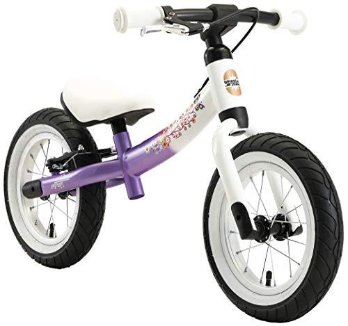 BIKESTAR 2-en-1 Vélo Draisienne Enfants pour Garcons et Filles de 3-4 Ans | Vélo sans pédales évolutive 12 Pouces Sportif Croissante Cadre | Lilas & Blanc