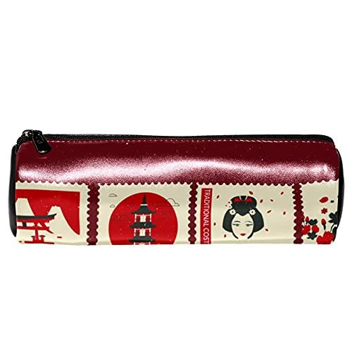 EZIOLY - Astuccio in pelle con francobolli giapponesi per penne, matite, portamonete, cosmetici, per studenti, cancelleria, scuola, lavoro, ufficio