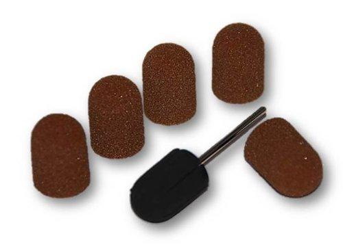1 Kappenträger + 5 Schleifkappen Set 16 mm Kappenschleifer Gummiträger Fußpflege Nagelpflege