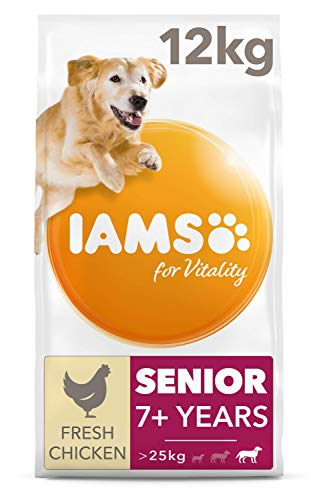 IAMS for Vitality Large Breed Senior Dry Dog Food with Fresh Chicken, 12 kg