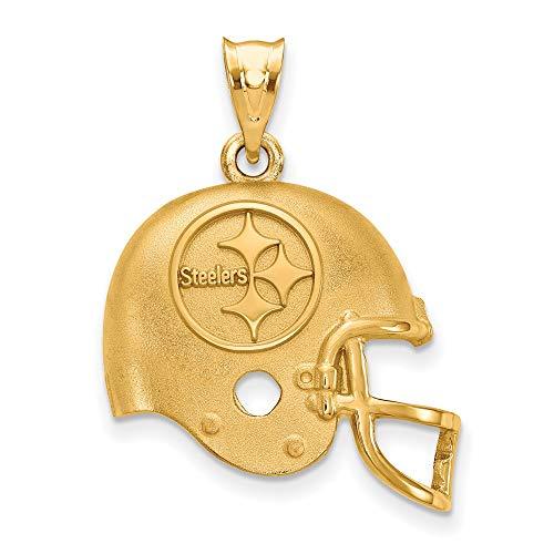 NFL Sterling Silver Gold-plated LogoArt Pittsburgh Steelers Helmet Pendant