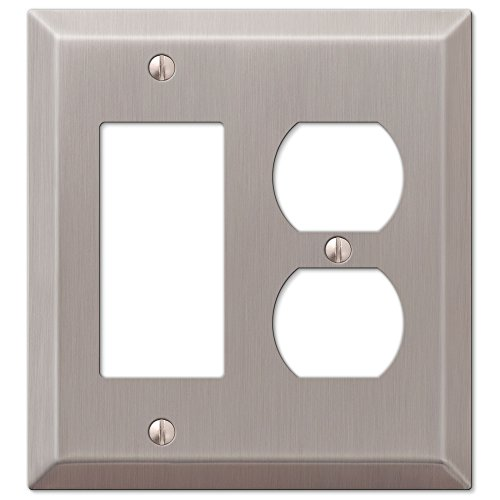 Traditional Combination Single GFCI Rocker and Single Duplex Outlet Wall Switch Plate, Brushed Nickel