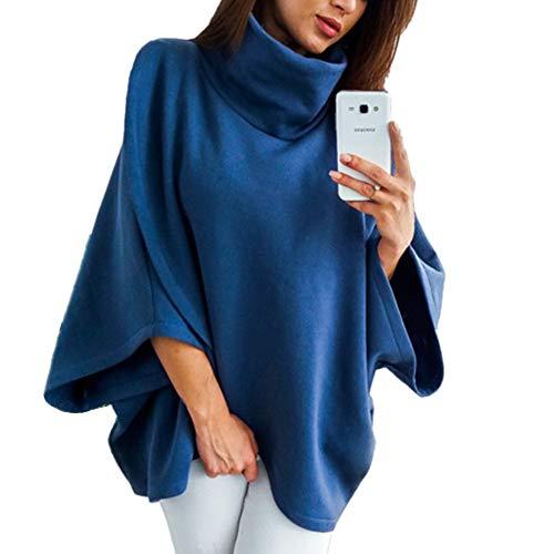 Morbuy Mujer Sudaderas, Jersey de Cuello Alto Otoño Manga Larga Blusa Tops Sencillo Cool Casual Linda Loose Sudadera Camisa De Slim Fitting Adolescente Deporte (M, Azul)