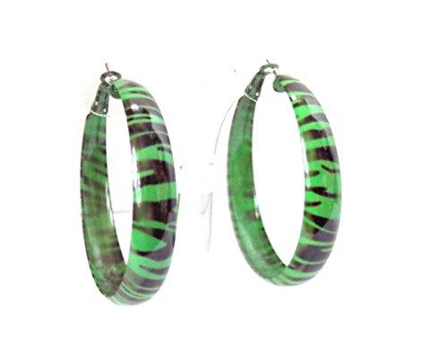 Green Zebra Print Hoop Earrings Metal Hoops 2 inch Hoop Earrings