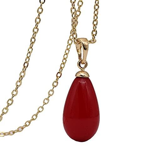 Coral rojo perla collares largos colgantes de gota de agua regalo diario de mujer joyería de moda de boda bonita