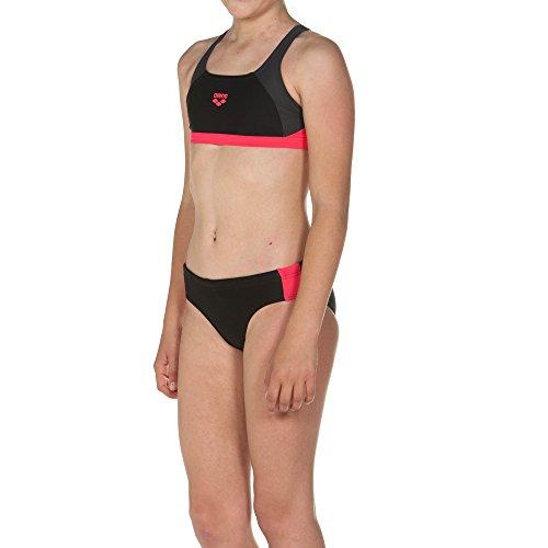 Arena arena Mädchen Sport Bikini Ren (Schnelltrocknend, UV-Schutz UPF 50+, Chlor-/Salzwasserbeständig), Black-Deep Grey-Fluo Red (554), 128